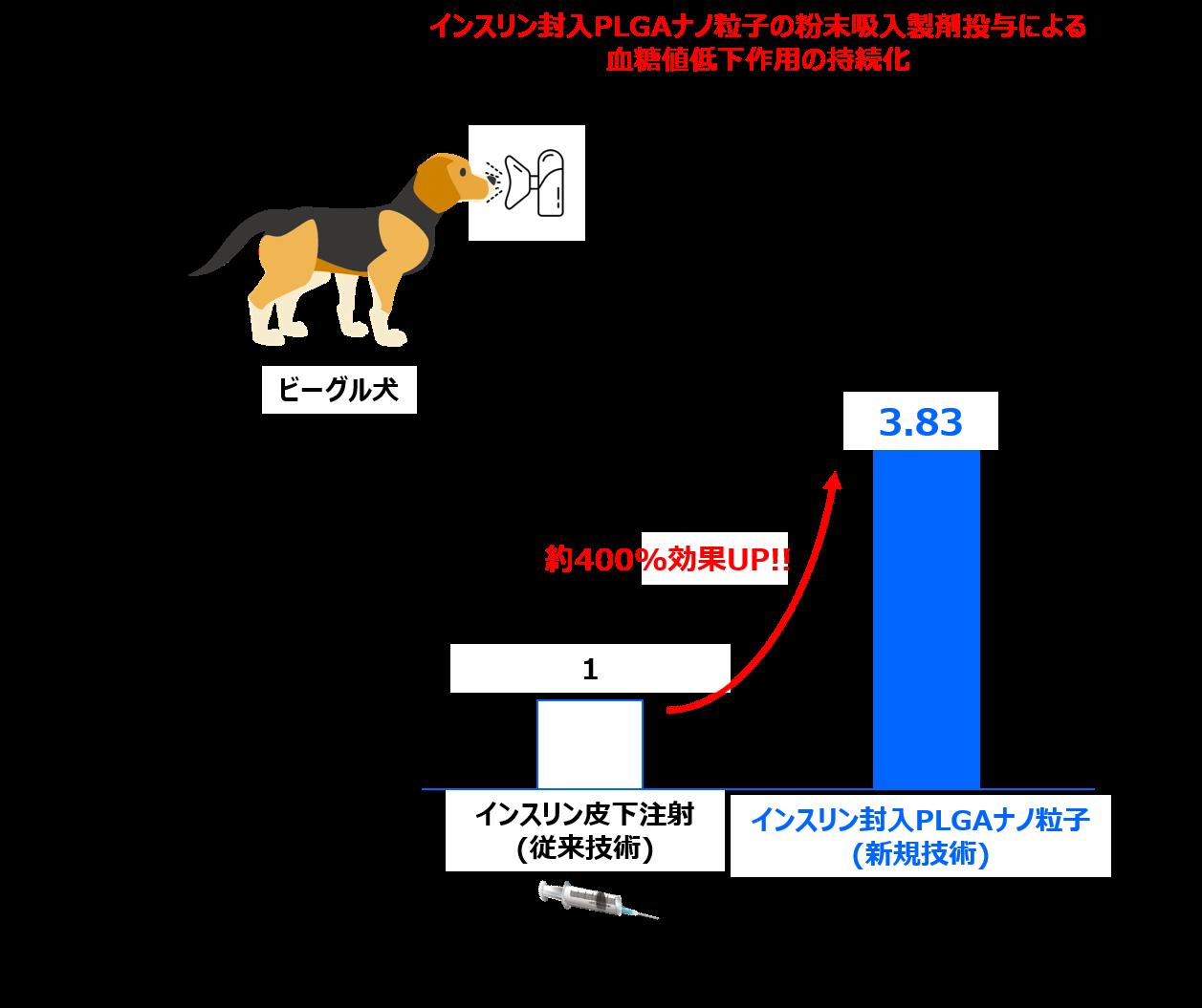 インスリン封入PLGAナノ粒子の吸入製剤投与による血糖値低下作用の持続化